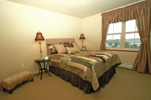 Photo of bedroom in a senor apartment at Celebre Place in Kenosah WI