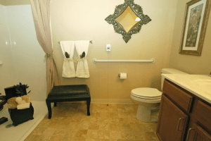 Photo of bathroom in a senor apartment at Celebre Place in Kenosah WI