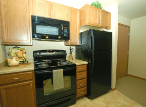 Photo of kitchen in a senor apartment at Celebre Place in Kenosah WI