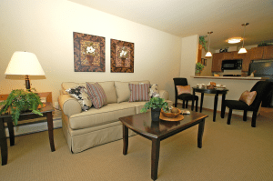 Photo of living room in a senor apartment at Celebre Place in Kenosah WI